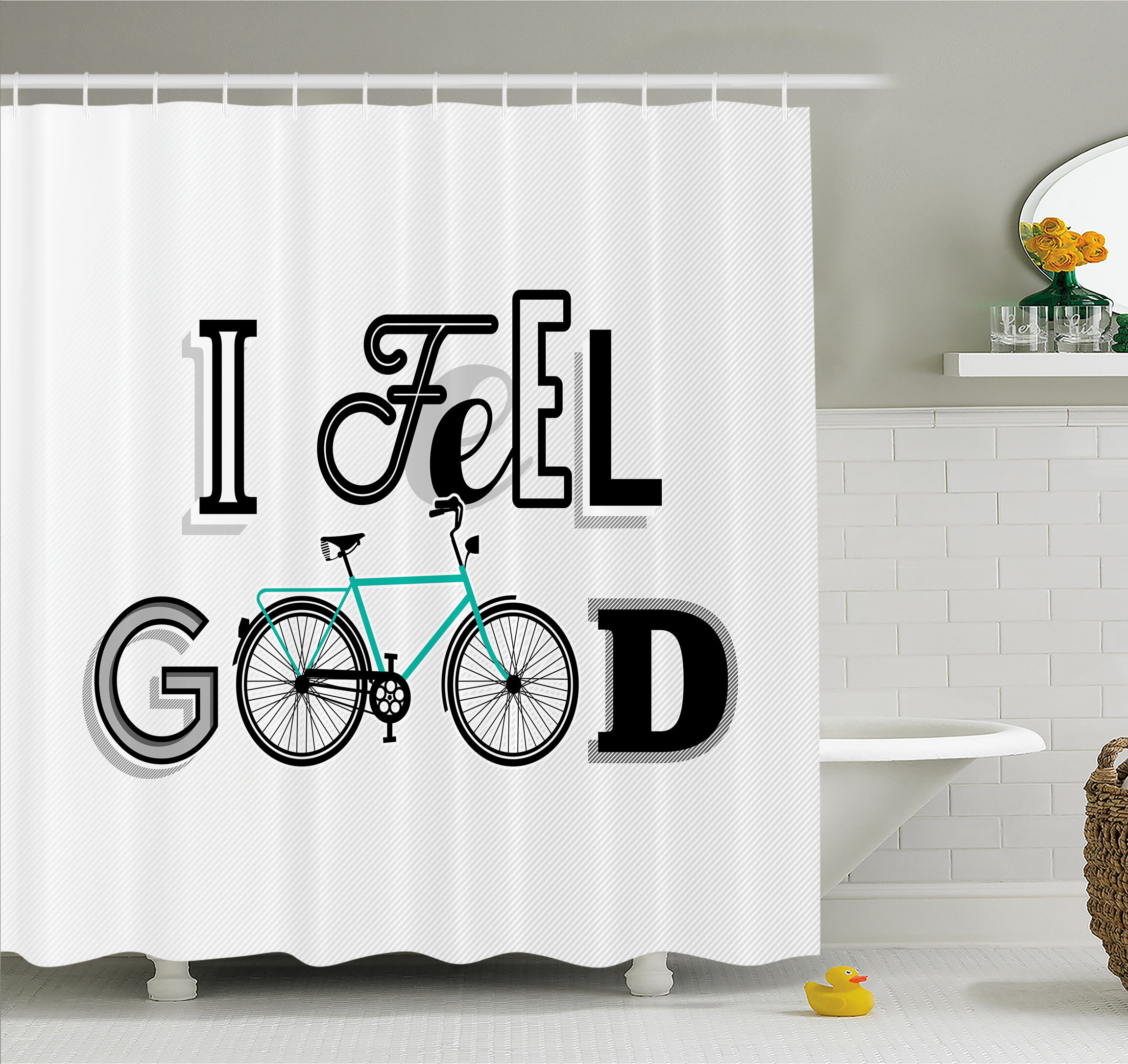 Ambesonne Motivation Quote With Old Bicycle Exercise Sports Leisure Philosophical Image Shower Curtain Set