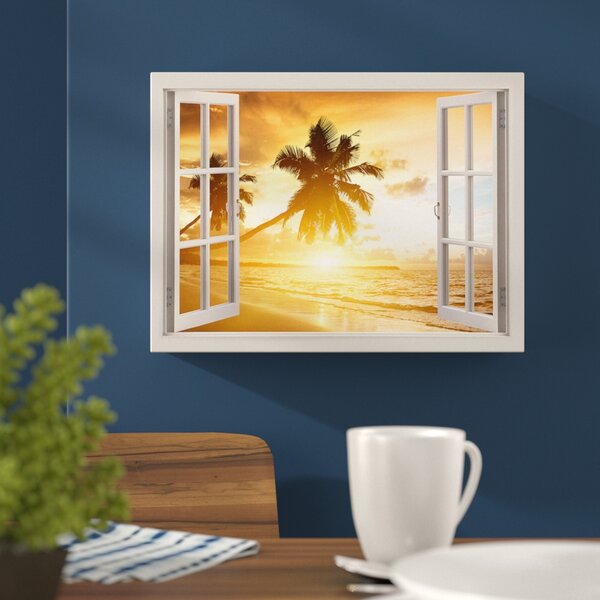 Hokku Designs Tropical Beach Sunset 3d Window Bay View