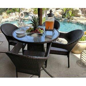 Merribrook Outdoor Rattan Wicker 5 Piece Dining Set