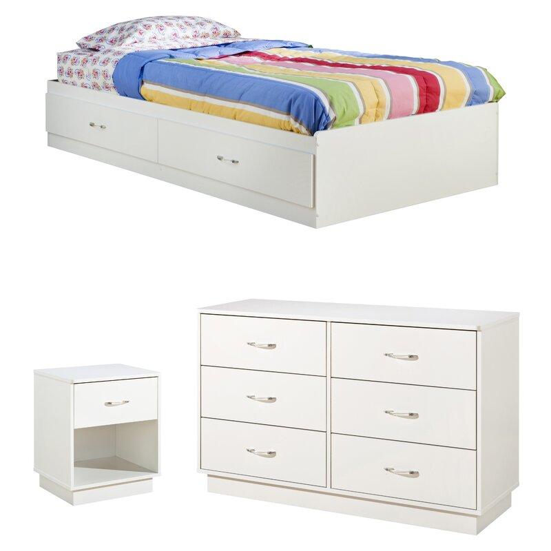 South Shore Logik 4 Piece Pure White Twin Kids Bedroom Set: South Shore Logik Twin Platform Configurable Bedroom Set