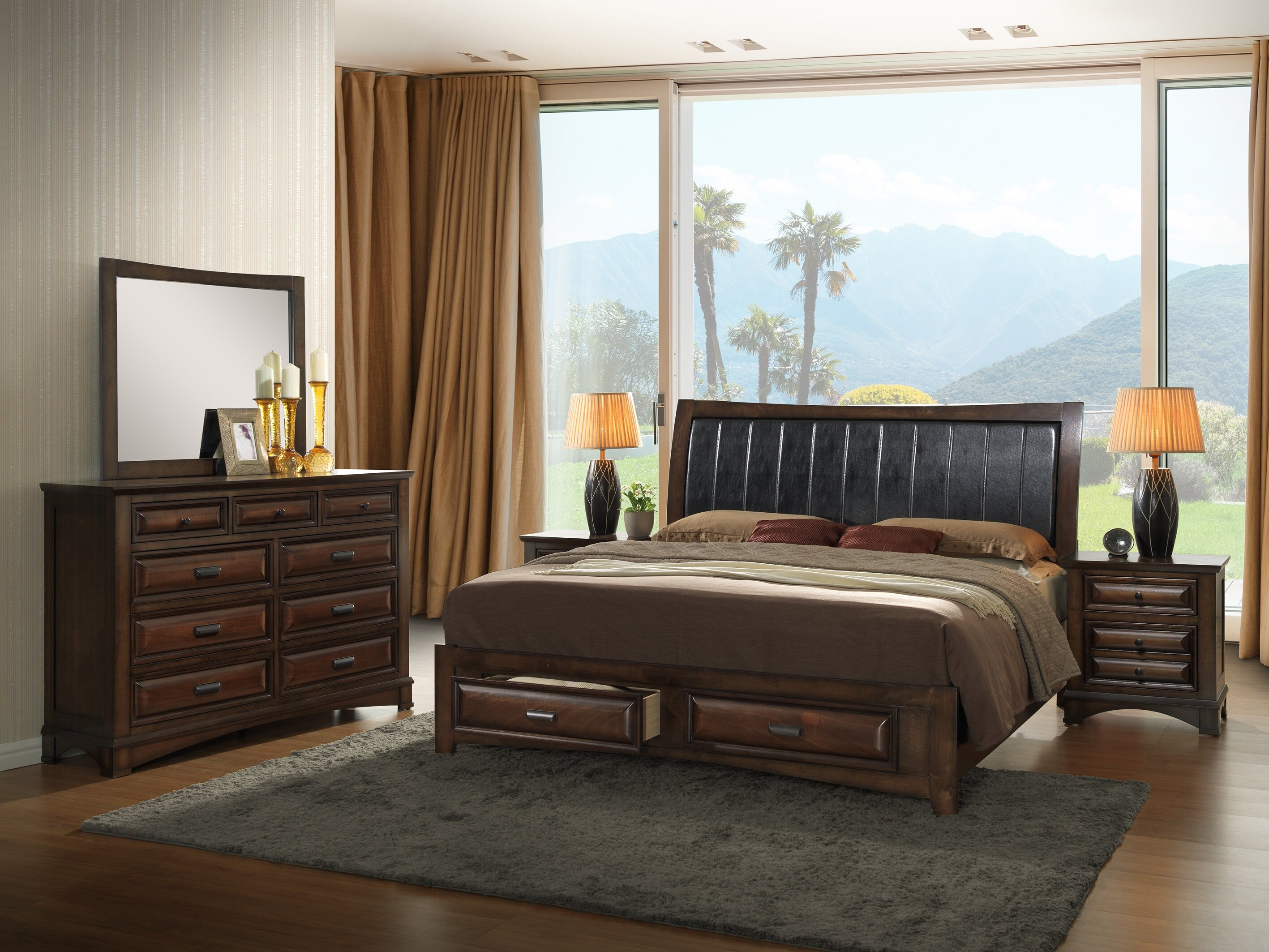 Charlton Home North Adams King Platform 5 Piece Bedroom Set | Wayfair