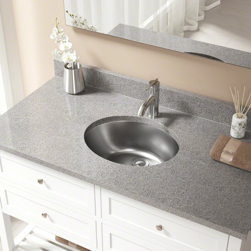 Stainless Steel Oval Undermount Bathroom Sink And Overflow With Drain Embly