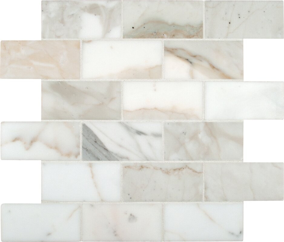 Calacatta Gold Mounted 2 X 4 Marble Subway Tile In White