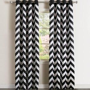 Alondra Chevron Semi Sheer Curtain Panels (Set Of 2)