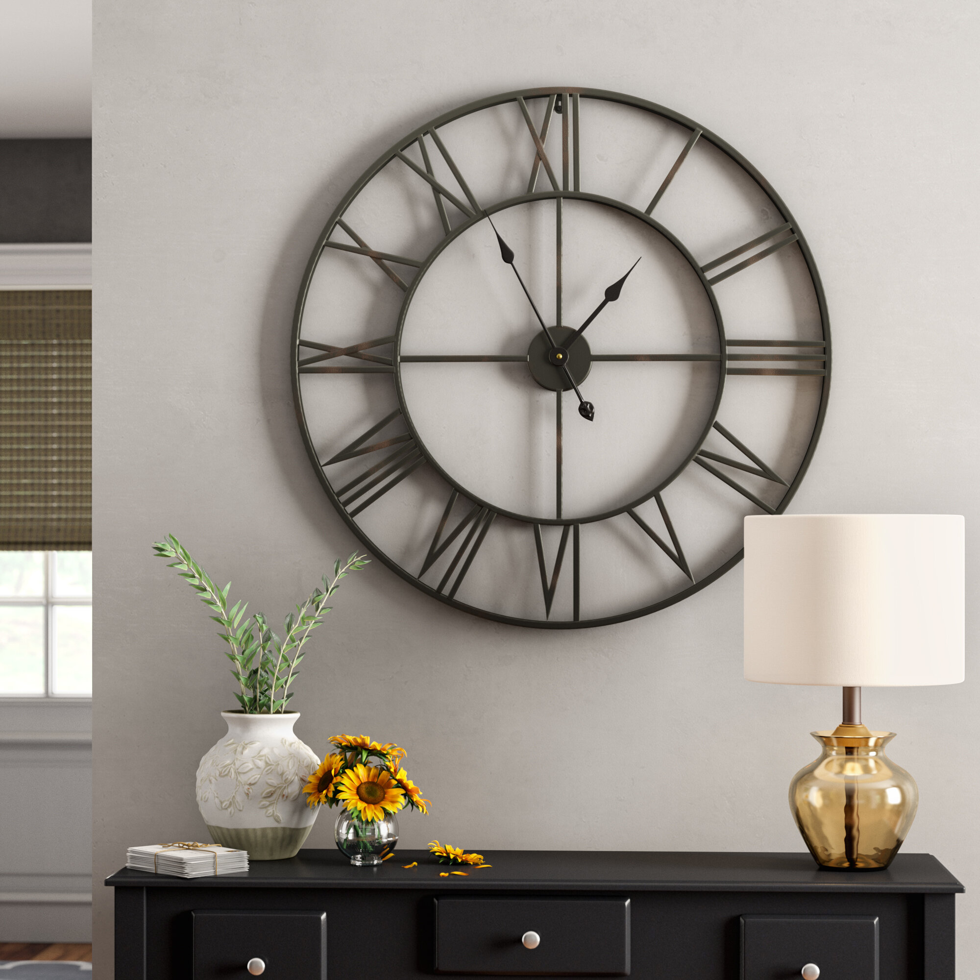 Oversized elborough roman no iron wall clock