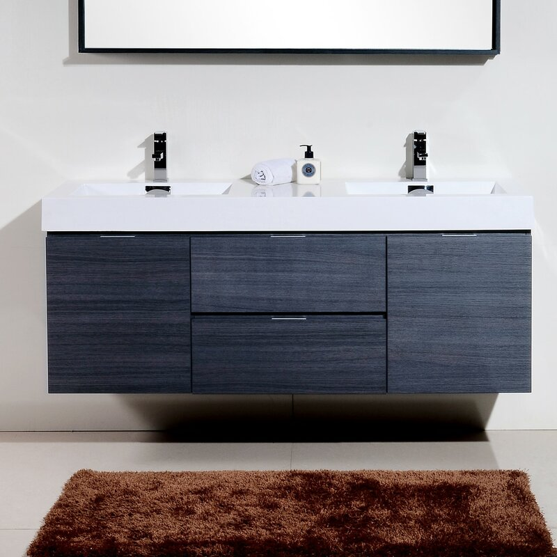 bathroom vanity set. Tenafly 60  Double Wall Mount Modern Bathroom Vanity Set Wade Logan