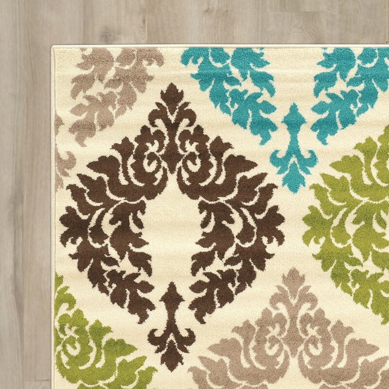 Linoleum Rug Turquoise Terracotta Area Rug Or Kitchen Mat: Bungalow Rose Klong Damask Turquoise/Cream Area Rug