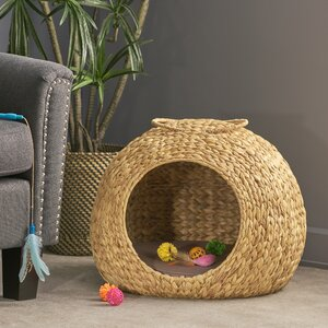 Fern Rock Water Hyacinth Wicker Hooded Dog Bed with Fabric Cushion