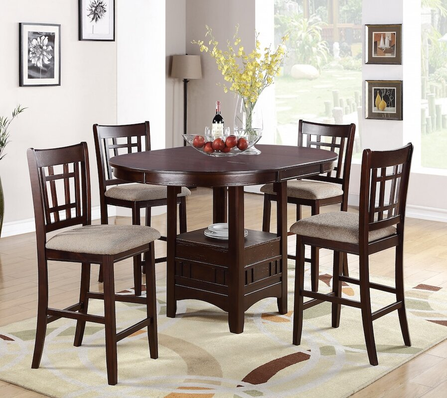 Infini Furnishings 5 Piece Counter Height Dining Set & Reviews ...
