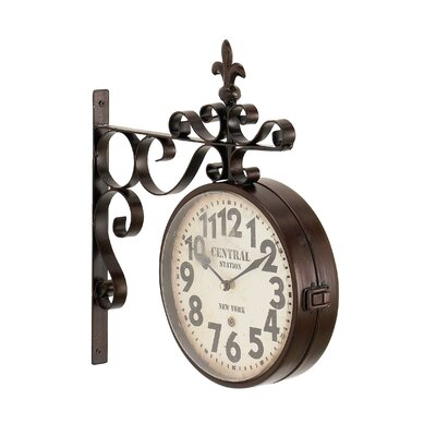 candour rustic iron central station vintage double sided wall clock