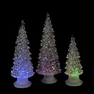 icy crystal 3 piece led christmas trees battery operated table top decor set - Crystal Christmas Tree