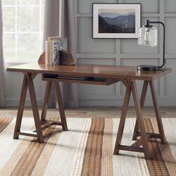 Simpli Home Sawhorse Writing Desk With Integrated Keyboard