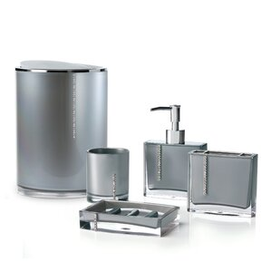 gray bathroom accessories set. Cristal 5 Piece Bathroom Accessory Set Grey Accessories You ll Love  Wayfair