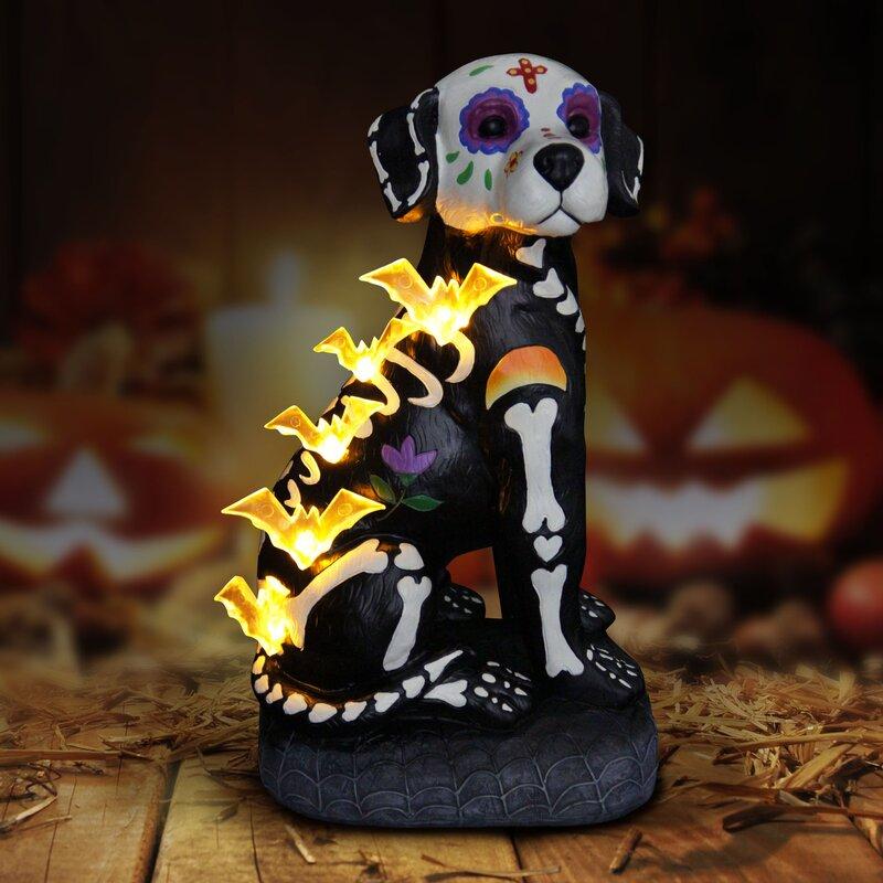 The Holiday Aisle Halloween Skeleton Dog Figurine with LED Bats ...