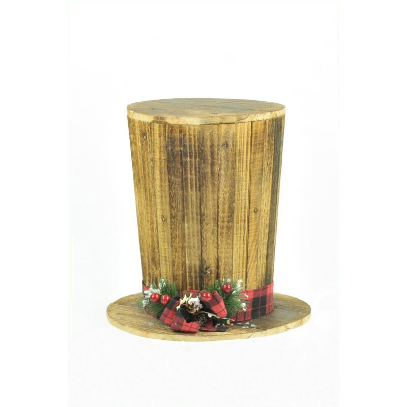 Wood Lighted Top Hat Tree Topper