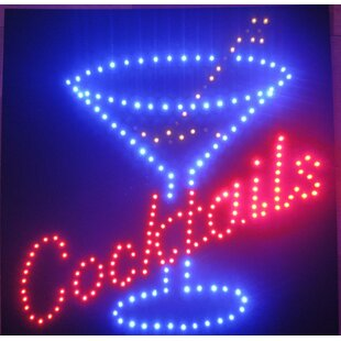 Bar marquee letter lights youll love wayfair cocktails led sign aloadofball Image collections
