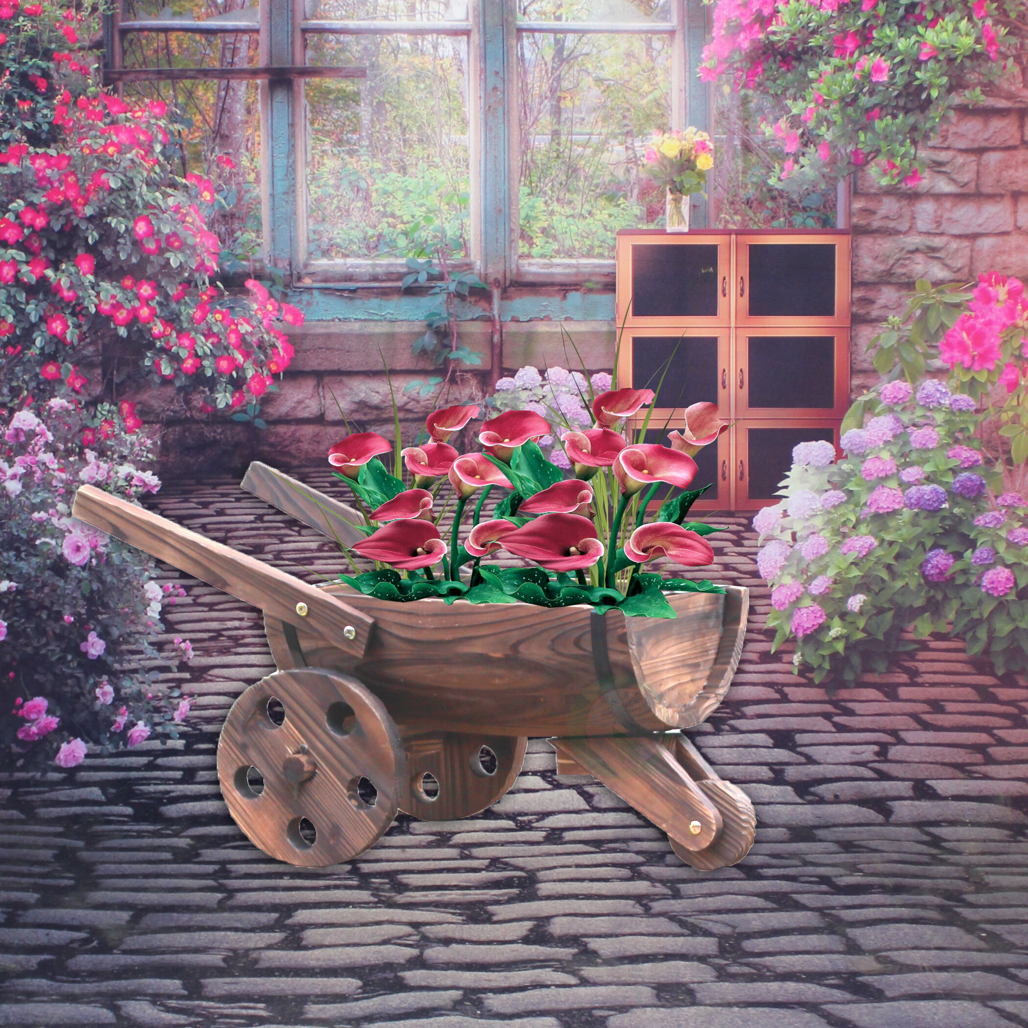 Gardenised Wood Wheelbarrow Planter Wayfair