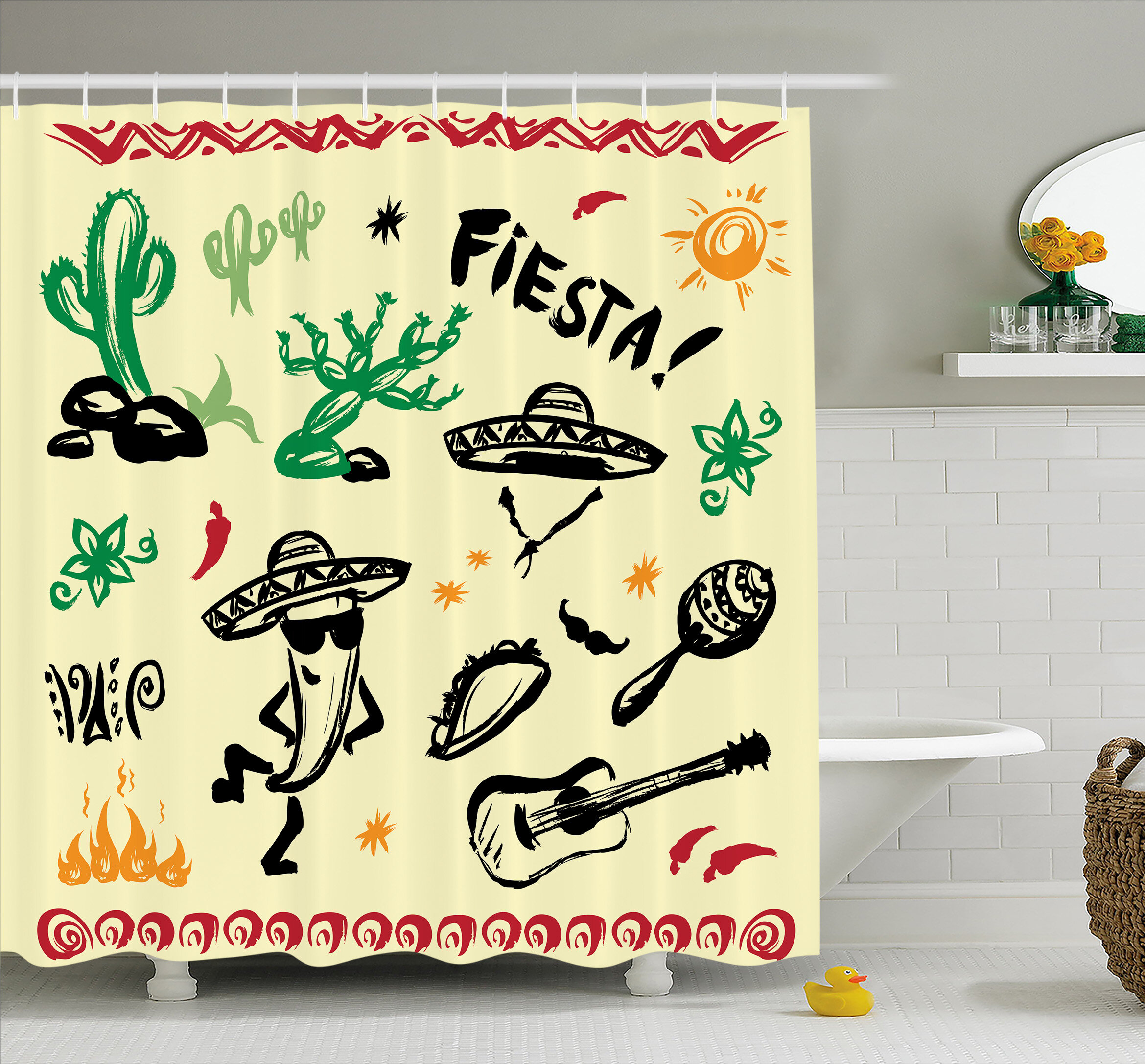 Ambesonne Mexican Popular Hispanic Objects With Fiesta Taco Guitar Cactus Plant Nachos Print Shower Curtain Set