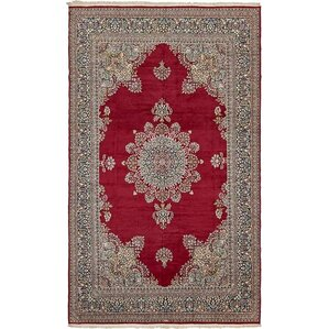 bellflower persian hand woven wool red floral area rug with fringe