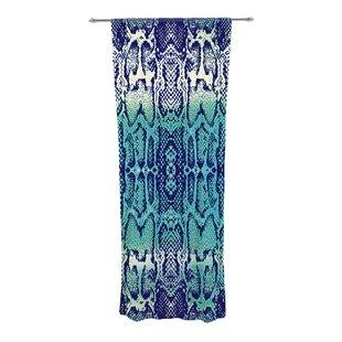 Aqua Snake Animal Print Sheer Rod Pocket Curtain Panels Set Of 2