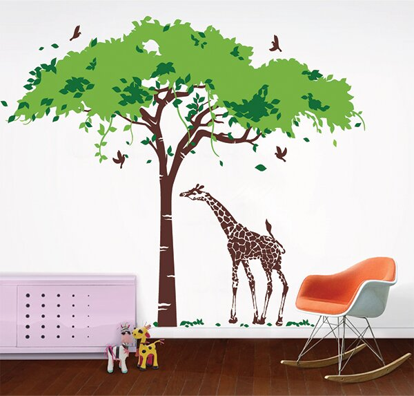 Africa Tree And Giraffe Wall Decal