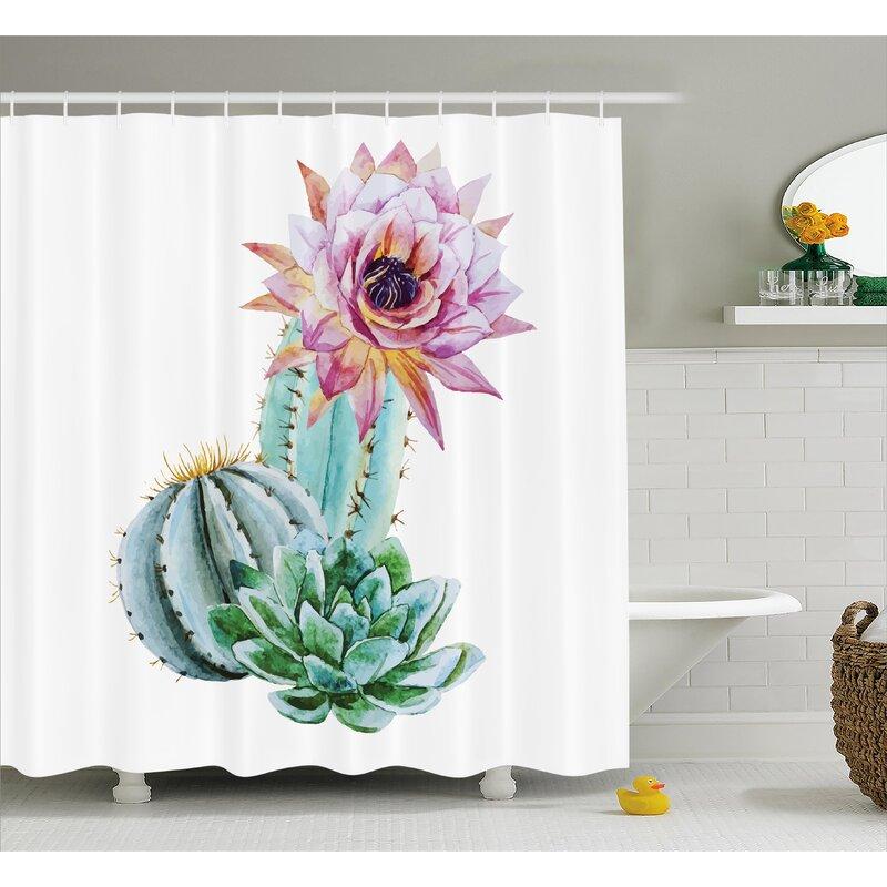 Bungalow Rose Harkness Cactus Spikes Flower Shower Curtain | Wayfair