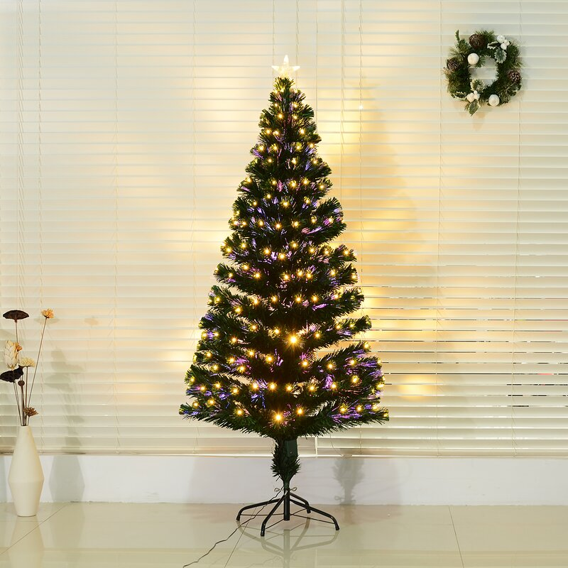 Delicieux Pre Lit LED 6.04u0027 Green Artificial Christmas Tree With 230 Multi Colored  Lights
