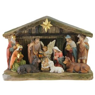Christmas Tabletop Nativity Set With Color Changing Led Light
