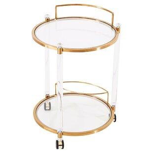 Elrod Round Gold Bar Cart