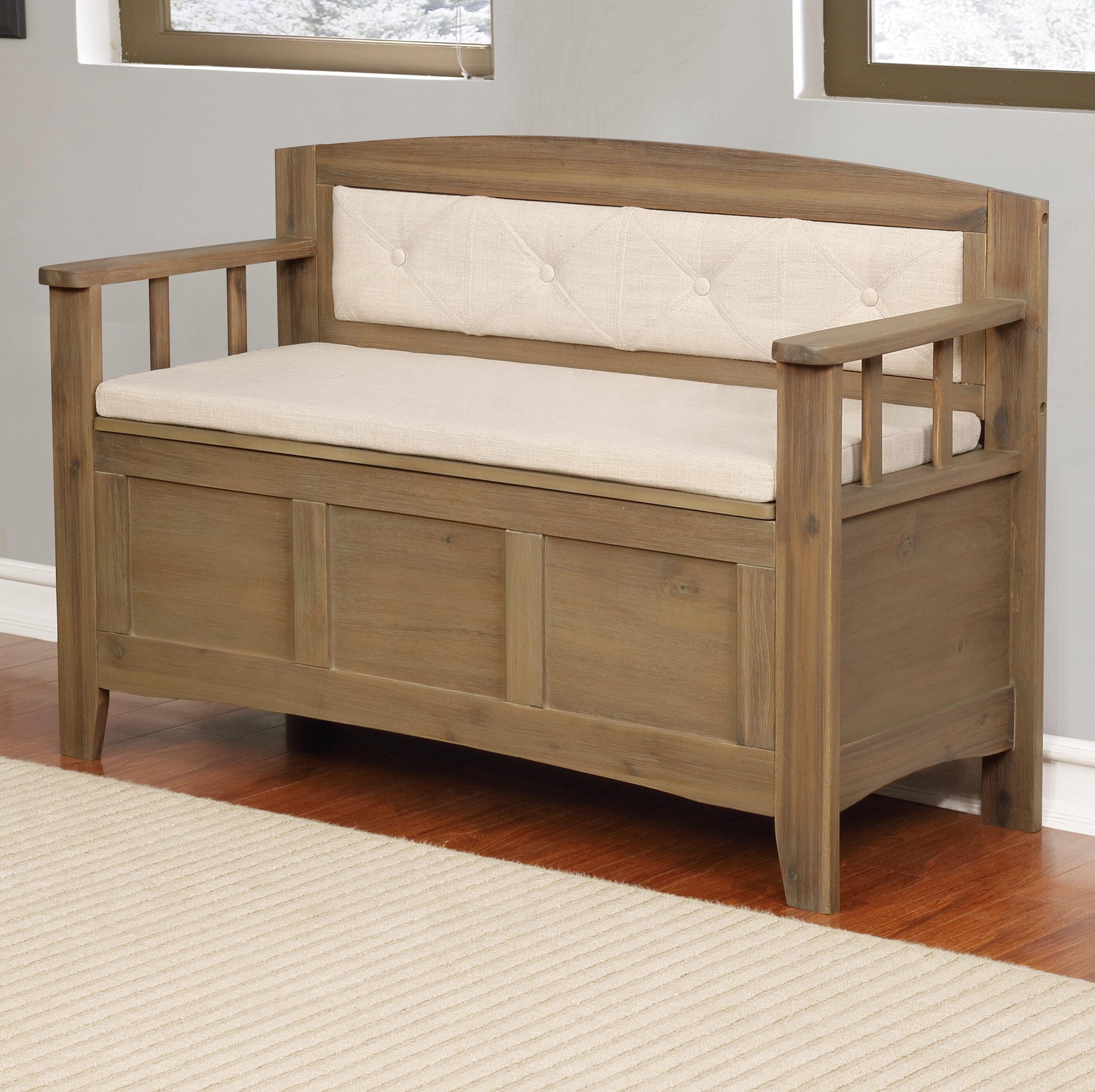 Gracie Oaks Armina Wood Storage Bench Reviews Wayfair