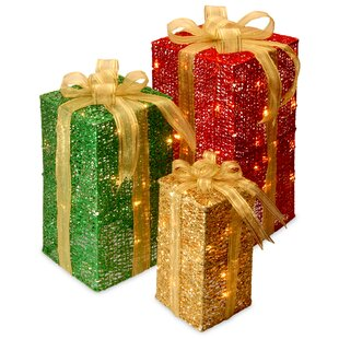 3 piece sisal gift box lighted display - Light Up Presents Christmas Decorations