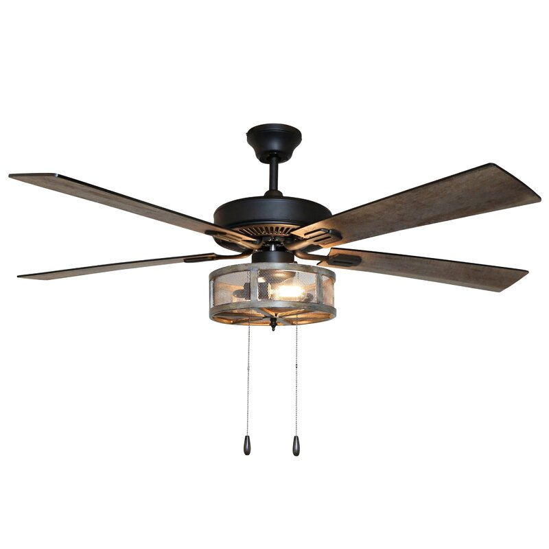 17 Stories 52 Quot Abbigail Woodgrain Caged Farmhouse 5 Blade Led Ceiling Fan With Remote Light Kit
