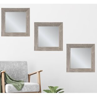 69f6d3e2c82 Glassell Weathered Barn Wood Square Accent Mirror Set (Set of 3)