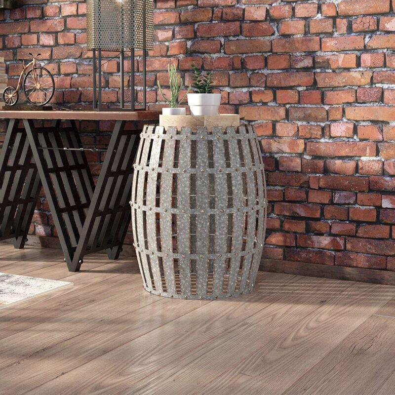Gibbs Wood And Metal Barrel End Table