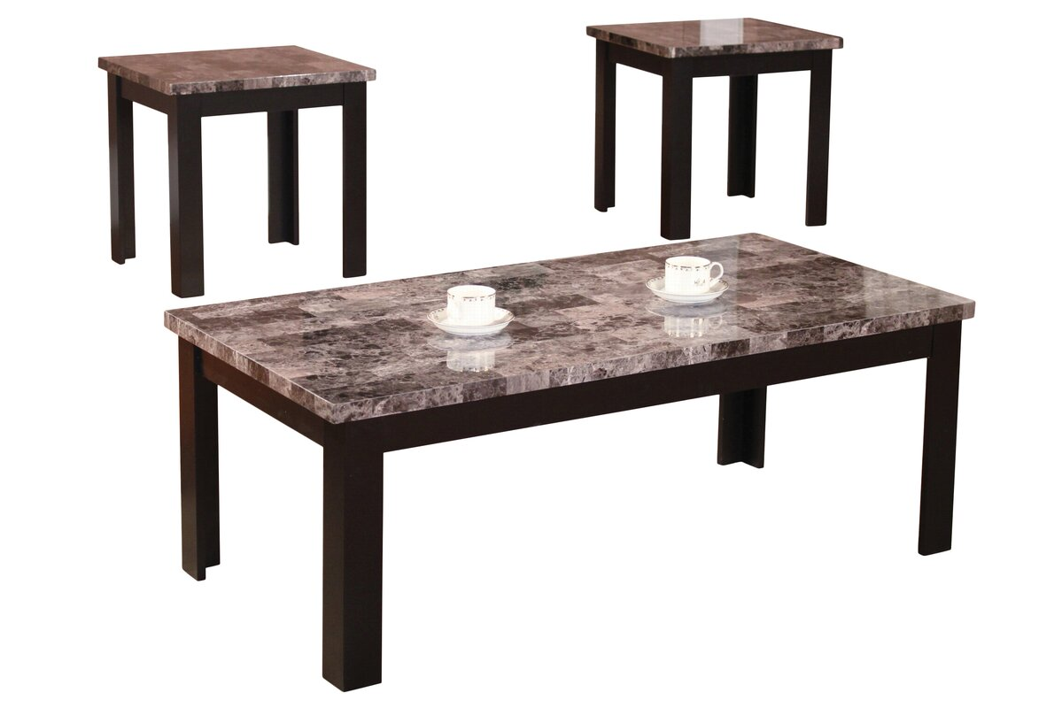 andover mills cecil marble top  piece coffee table set  reviews  - defaultname
