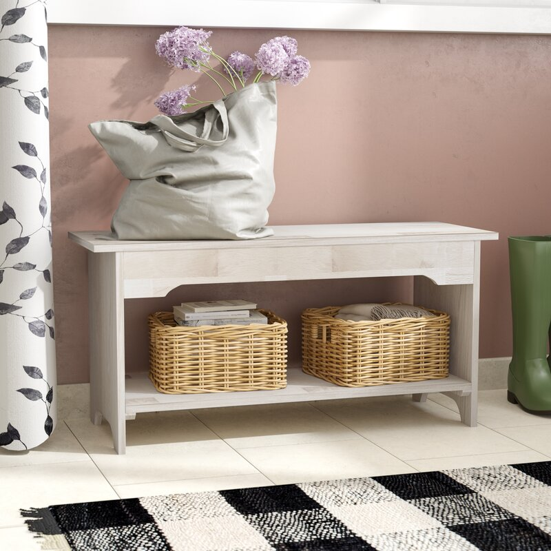 August Grove Toby Wood Storage Bench Amp Reviews Wayfair