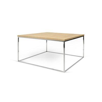 Brayden Studio Soltane Coffee Table Table Top Color: Wild Oak, Table Base Color: Chrome