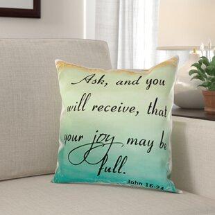 Faiyaz Verse John 16 24 Grant Pastel Inspirational Saying Pillow Cover