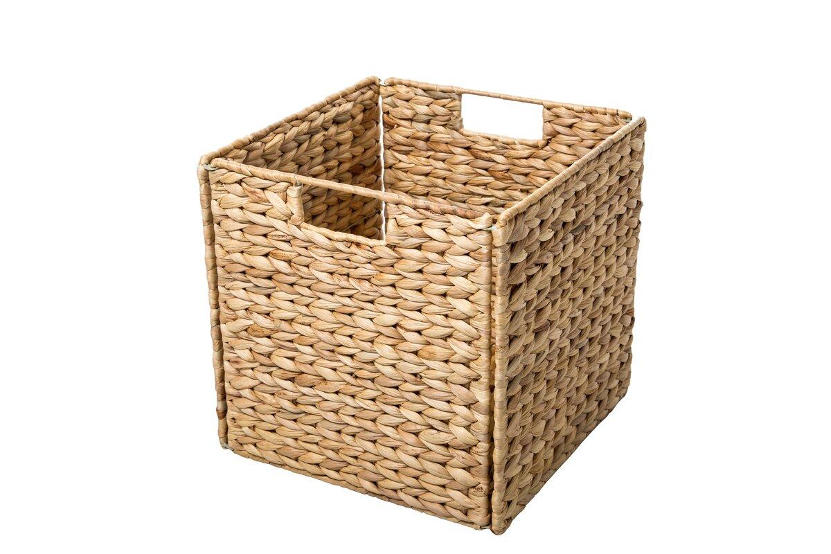 Foldable Hyacinth Storage Basket With Iron Wire Frame