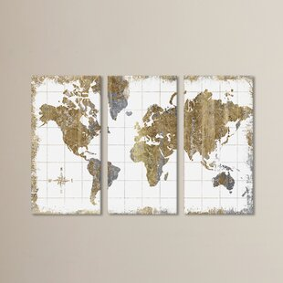 World map wall art gilded map graphic art print multi piece image on canvas gumiabroncs Choice Image