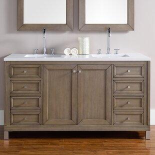 Valladares 60 Double Ceramic Sink White Washed Walnut Bathroom Vanity Set
