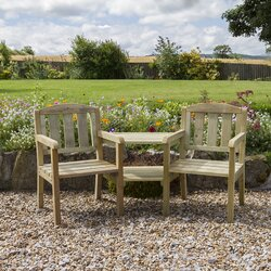 Garden Furniture Love Seat home & haus caroline wooden love seat & reviews | wayfair.co.uk