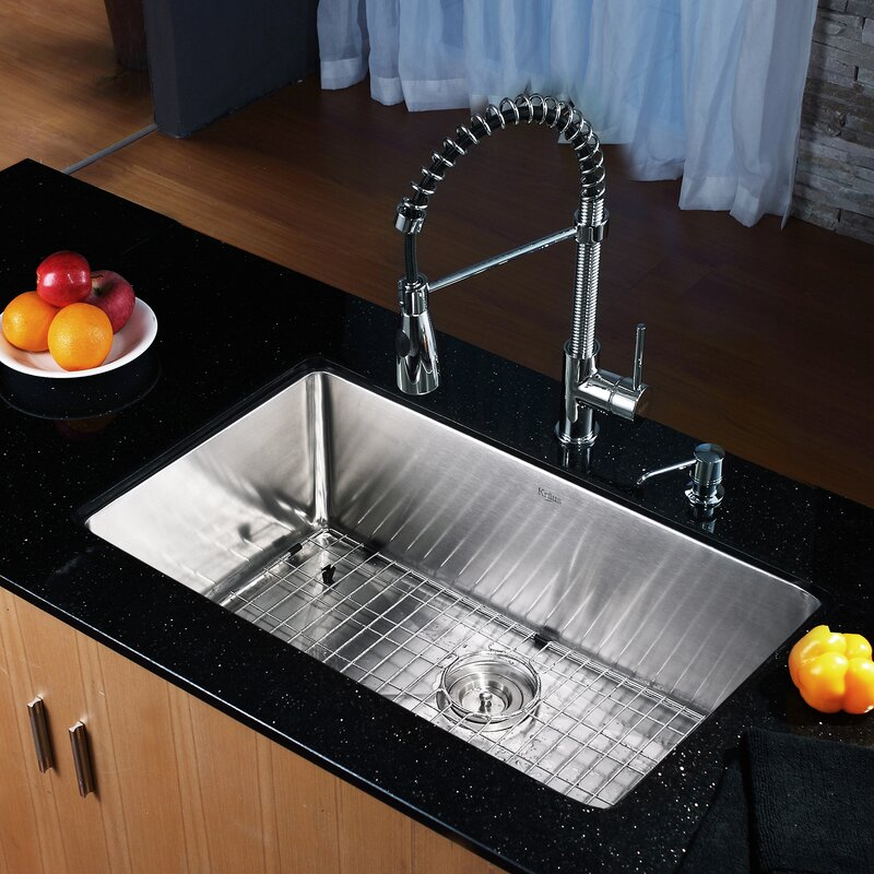 "Undermount Kitchen Sinks And Faucets kraus 30"" x 18"" undermount kitchen sink with faucet and soap"