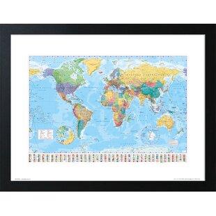Framed world map wayfair world map framed graphic art print gumiabroncs Gallery