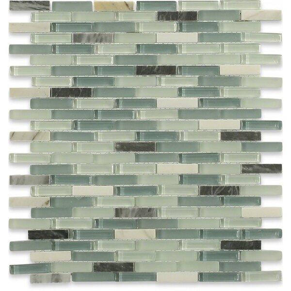 Splashback Tile Cleveland 0 5 X 1 Gl Marble Mosaic In Frosted Seafoam Green Gray Stone Light Wayfair