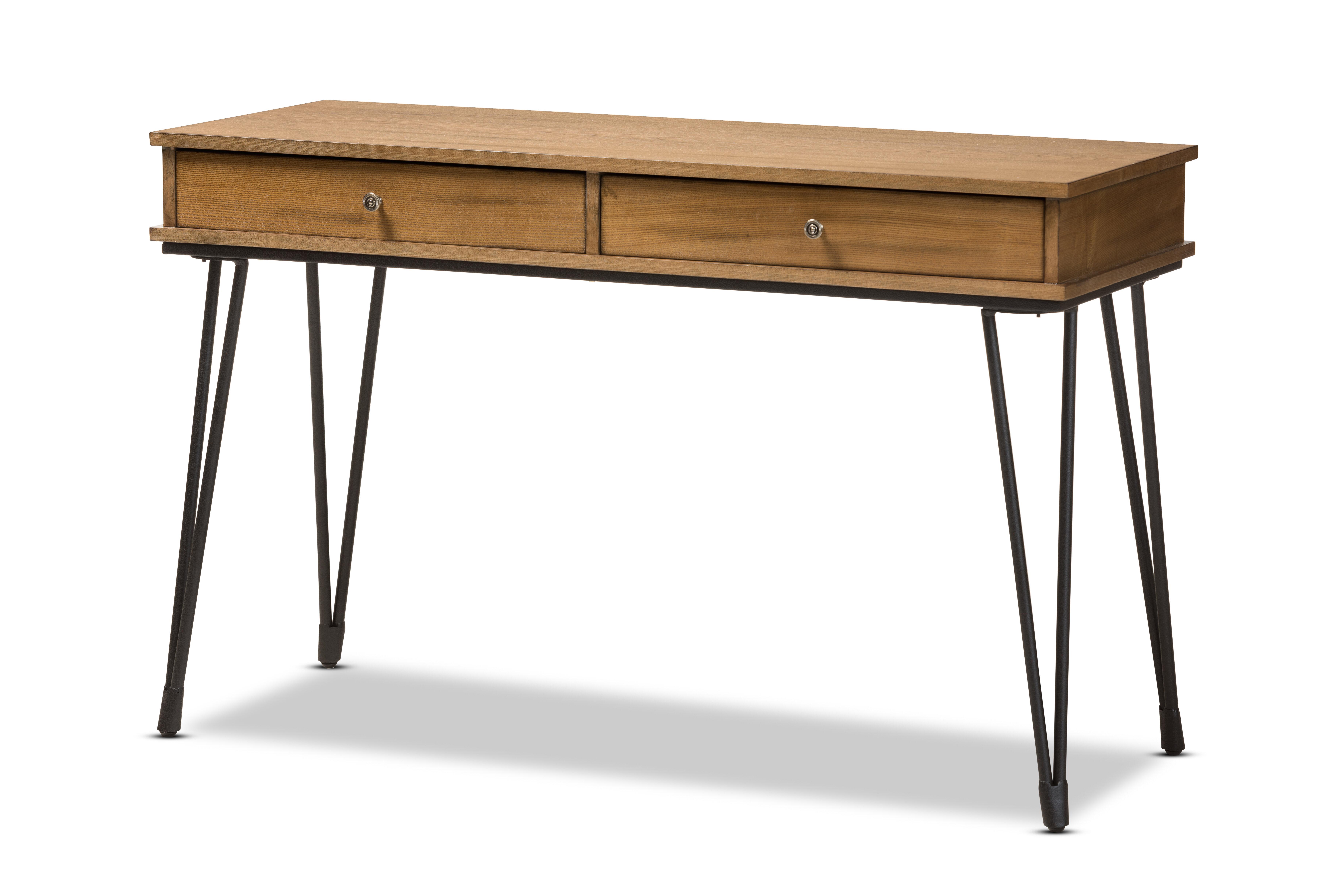 Nikolai metal and distressed wood writing desk reviews joss main