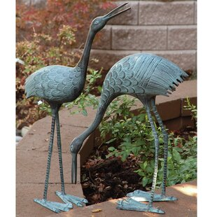 Stately Garden Cranes Statue Set Of 2
