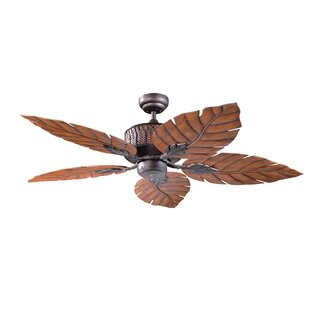 Palm leaf ceiling fan wayfair 52 fern leaf 5 blade ceiling fan aloadofball Images