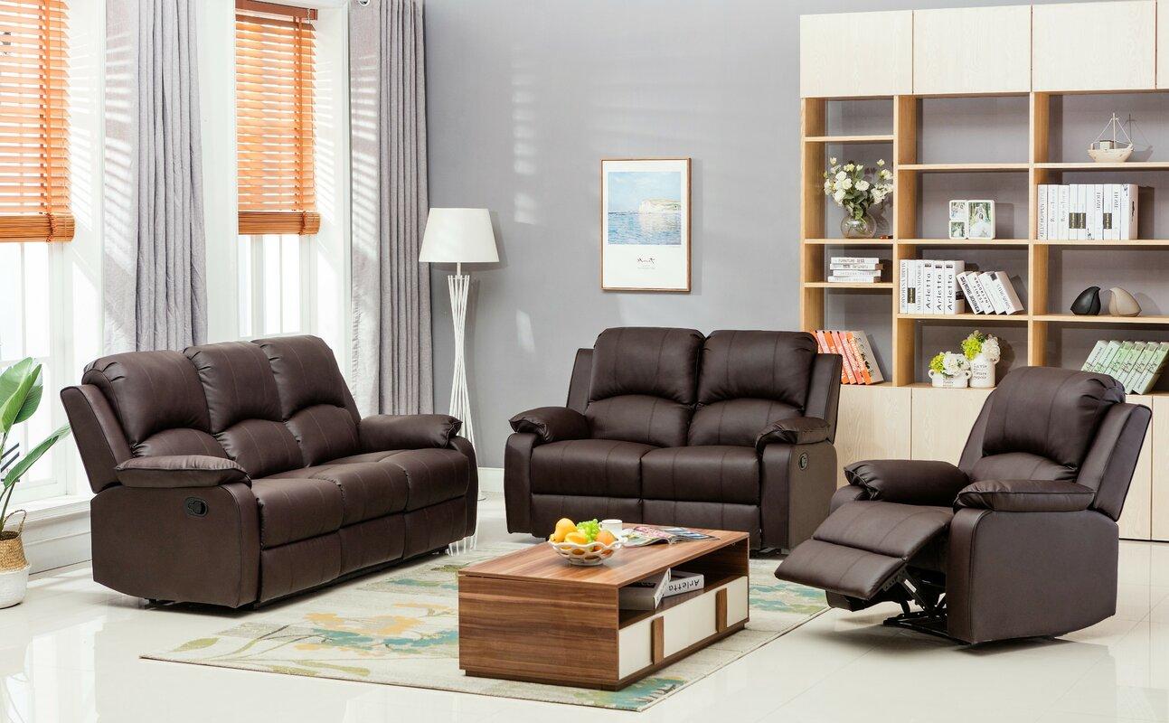 Latitude Run Willian 3 Piece Leather Living Room Set