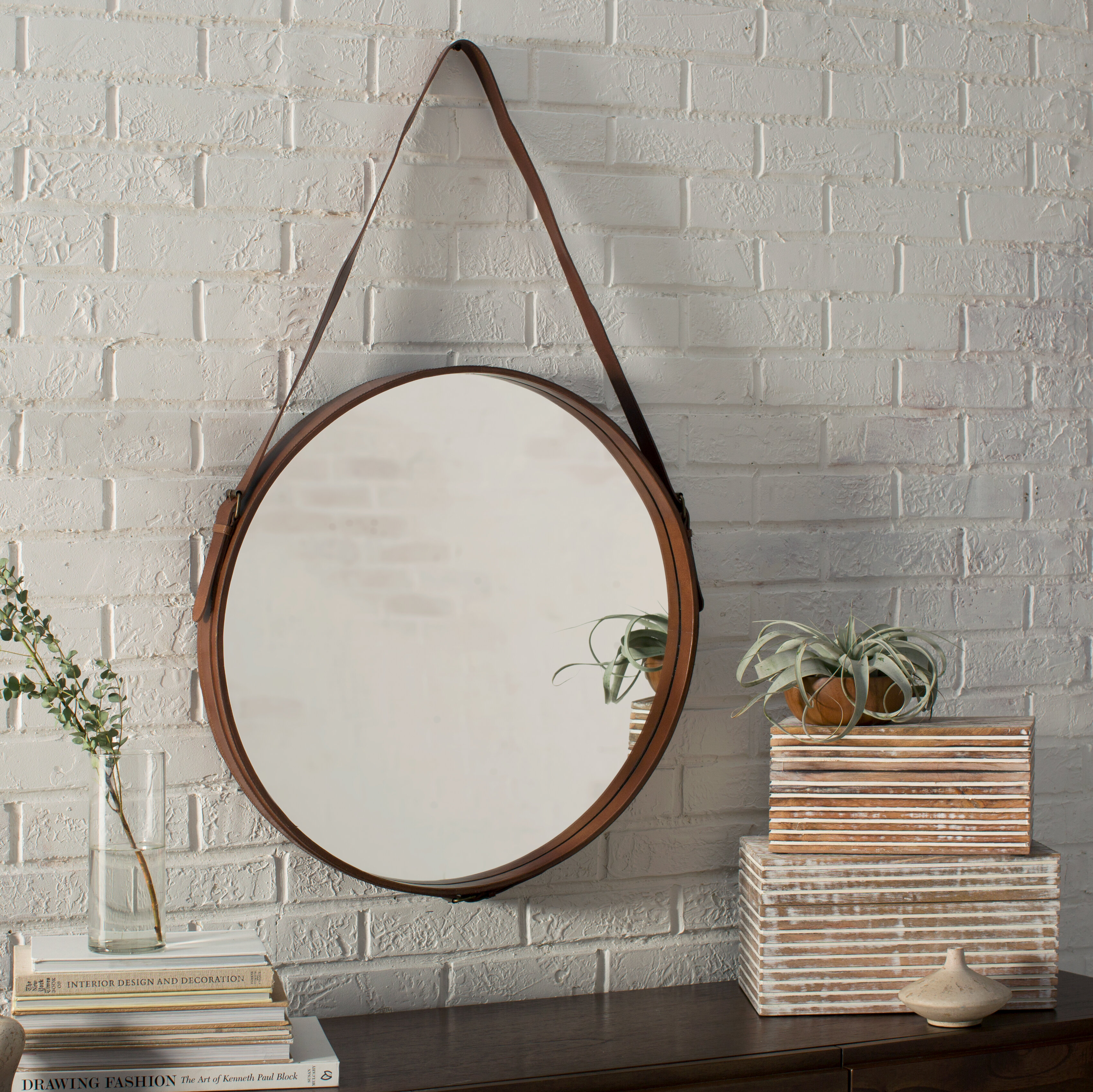 Ay Distressed Vertical Round Wall Mirror
